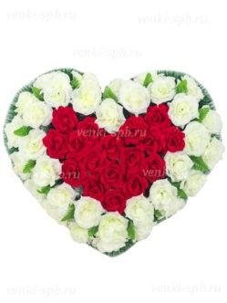 """Венок в форме сердца на похороны в спб """"Разбитое сердце №2"""""""