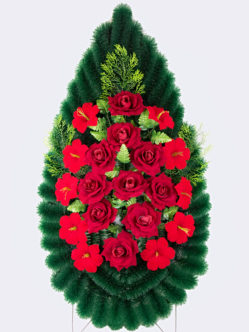 Венок на похороны из искусственных бархатных цветов