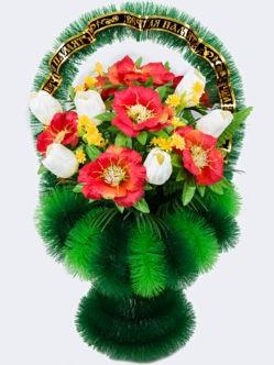 """Корзина на похороны из искусственных цветов """"Весна"""""""