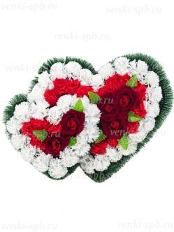 """Венок в форме сердца """"Два сердца"""" на похороны в спб"""