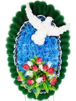 """Траурный венок на похороны из искусственных цветов на День Победы """"Голубь Мира 2"""""""