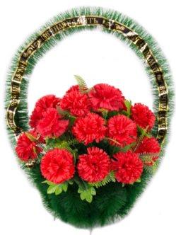 """Ритуальная корзина из искусственных цветов """"С гвоздикой"""""""