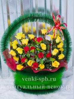 """Ритуальная корзина из искусственных цветов """"Симфония"""""""