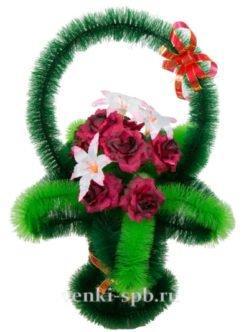 Ритуальная корзина на похороны с розами