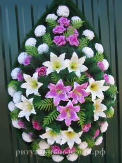 Похоронный венок из искусственных цветов