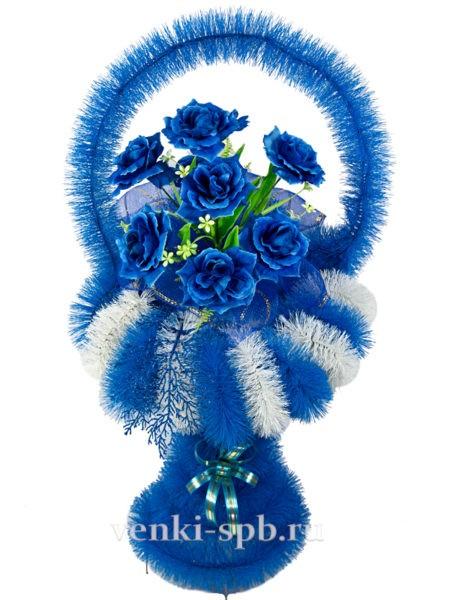 Ваза Большая Цветная ( Бело-Голубая) - Фото 1   Компания «Венок»