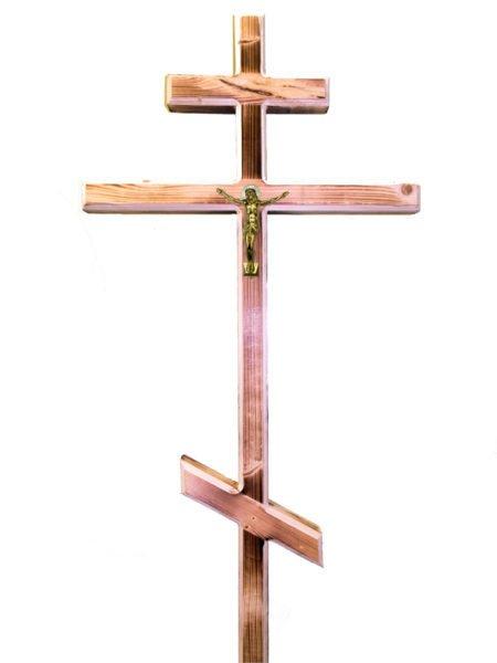Крест К2 (сосна, обжиг, распятие) 50х40 - Фото 1 | Компания «Венок»