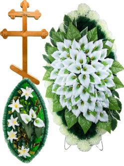 Набор для похорон: венки ритуальные, деревянный крест