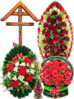 Набор для похорон: венки ритуальные, траурная корзина, деревянный крест