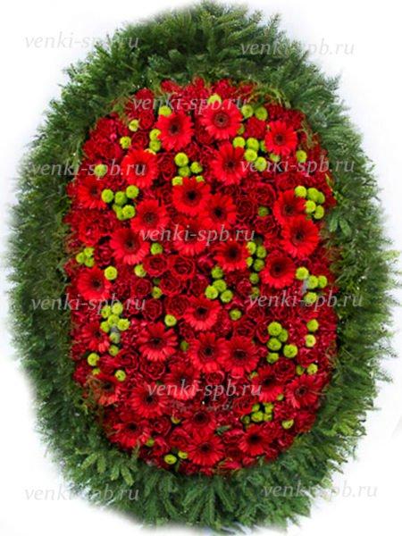 Венок из живых цветов №25 - Фото 1 | Компания «Венок»