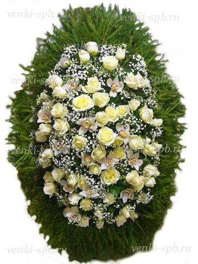 Венок из живых цветов №36 - Фото 1 | Компания «Венок»