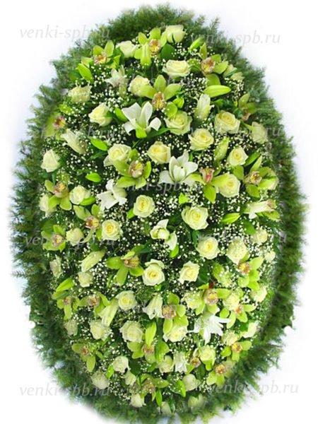 Венок из живых цветов №35 - Фото 1 | Компания «Венок»