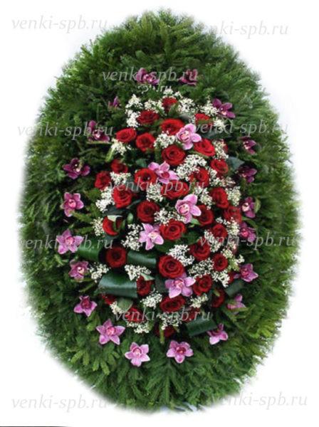 Венок из живых цветов №45 - Фото 1 | Компания «Венок»