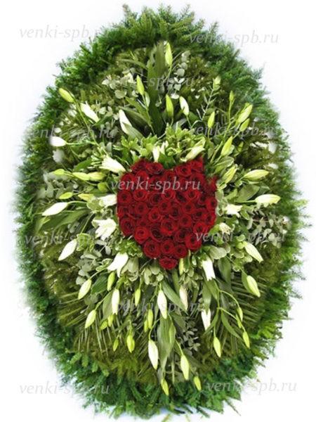 Венок из живых цветов №47 - Фото 1 | Компания «Венок»