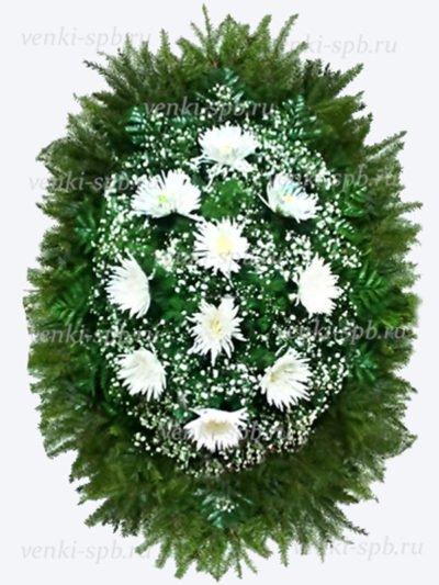 Венок из живых цветов №50 из белых хризантем - Фото 1   Компания «Венок»
