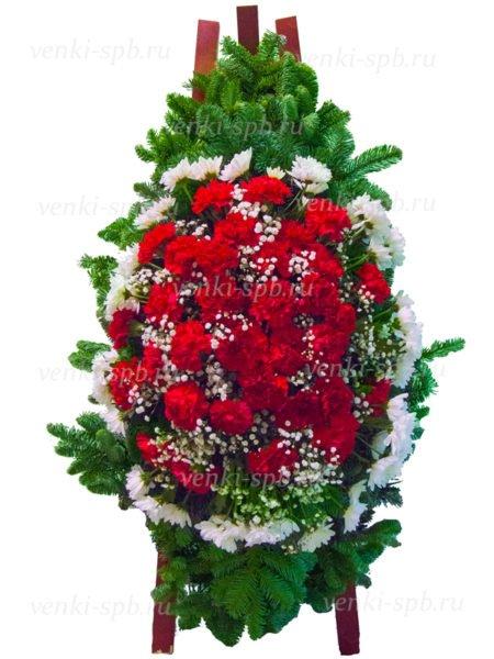 Венок из живых цветов №20 из гвоздики и хризантемы - Фото 1 | Компания «Венок»