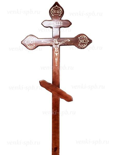 Крест сосновый КДС-16 фигурный с распятием (фольга) темный - Фото 1 | Компания «Венок»