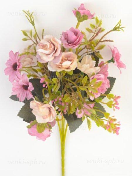 Букет розы с герберой Вимпл — сиреневый - Фото 1   Компания «Венок»