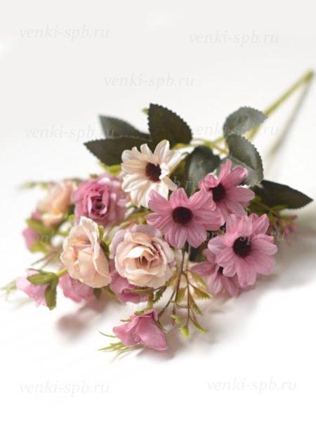 Букет розы с герберой Вимпл — сиреневый - Фото 2   Компания «Венок»