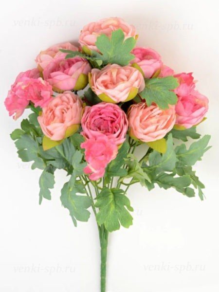 Искусственные цветы Букет пионов ЛОКЕРБИ ( 12 соцветий) сиреневый - Фото 1 | Компания «Венок»