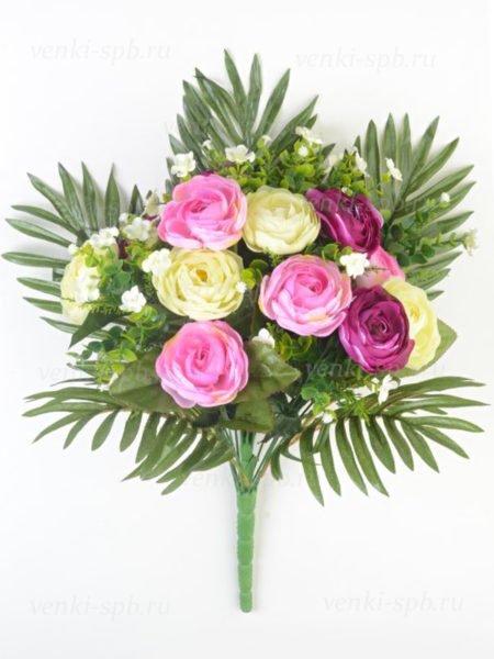 Искусственные цветы Букет камелии ЭММАЯ 24 ветки (бело-сиреневый) - Фото 1 | Компания «Венок»