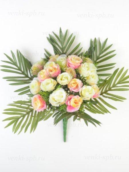 Искусственные цветы Букет бутонов роз ТИТАНИЯ 24 ветки (розовый) - Фото 1 | Компания «Венок»
