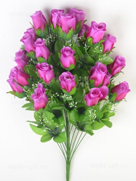 Букет бутонов роз ФИНТРИ (24 бутона) — сиреневый - Фото 1 | Компания «Венок»