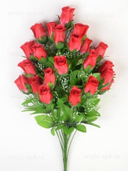 Искусственные цветы Букет бутонов роз ФИНТРИ (24 бутона) — красный - Фото 1 | Компания «Венок»