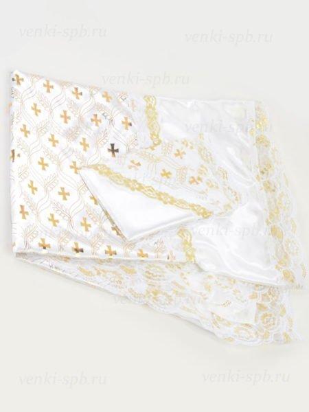 Комплект покрывало и наволочка в гроб (атлас с золотым крестом) - Фото 1 | Компания «Венок»