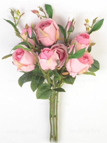 Букет бутонов роз МАШАМ (7 веток) розовый комби - Фото 1 | Компания «Венок»