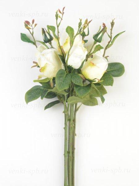 Искусственные цветы Букет бутонов роз МАШАМ (7 веток) белый - Фото 1 | Компания «Венок»