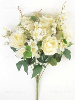 Заказать с доставкой искусственный белый букет Пулборо на похороны в Санкт-Петербурге