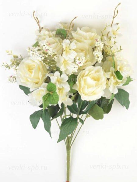 Искусственные цветы Букет роз Пулборо 12 веток белый - Фото 1 | Компания «Венок»