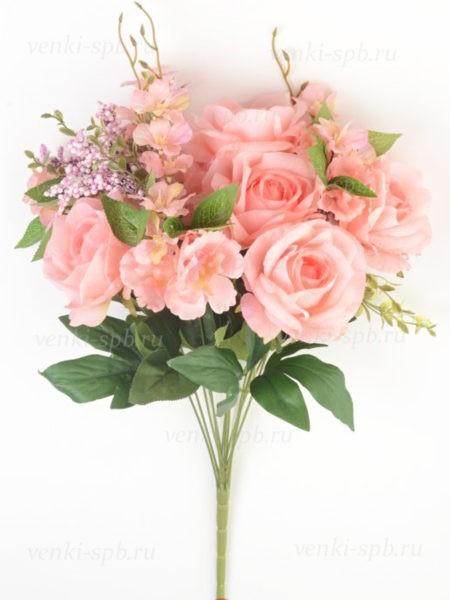 Букет роз Пулборо 12 веток нежно-розовый - Фото 1 | Компания «Венок»