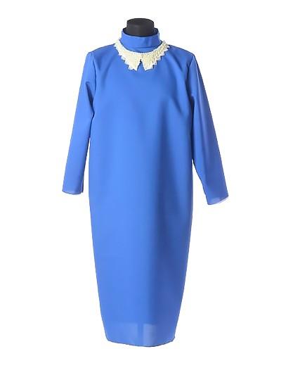 Платье для погребения с жемчужным воротником — синее - Фото 1 | Компания «Венок»