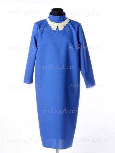 Платье для погребения с жемчужным воротником – синее - Фото 2 | Компания «Венок»