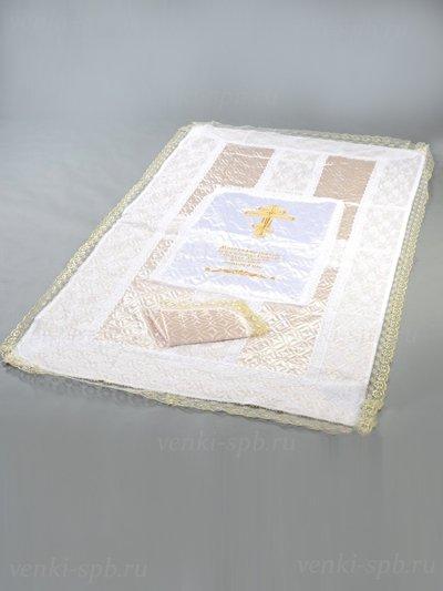 Комплект покрывало и наволочка с вышитым Ликом (атлас, термостежка) - Фото 1 | Компания «Венок»