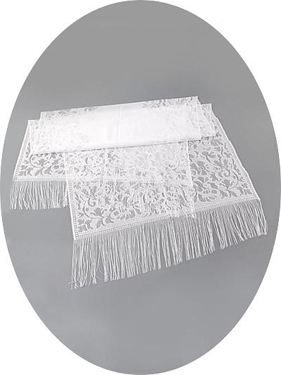 Платок для умершей белый кружевной с бахромой - Фото 1 | Компания «Венок»