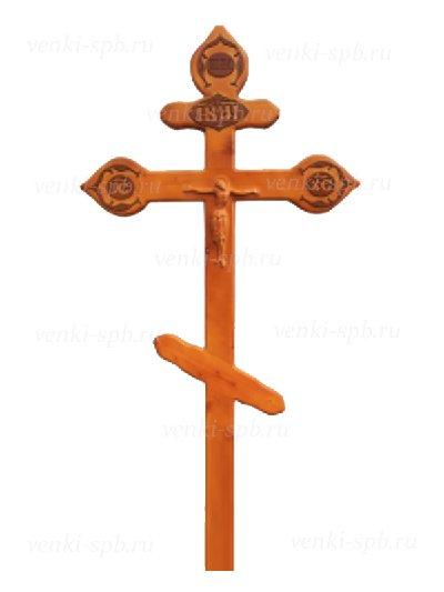 Крест сосновый КС-17 фигурный с орнаментом светлый - Фото 1 | Компания «Венок»
