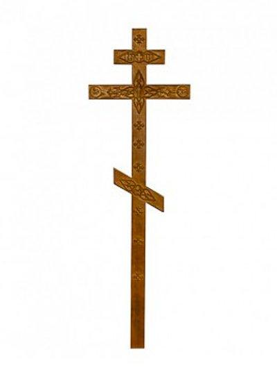 Крест сосновый состаренный с декором КС-06 - Фото 1   Компания «Венок»