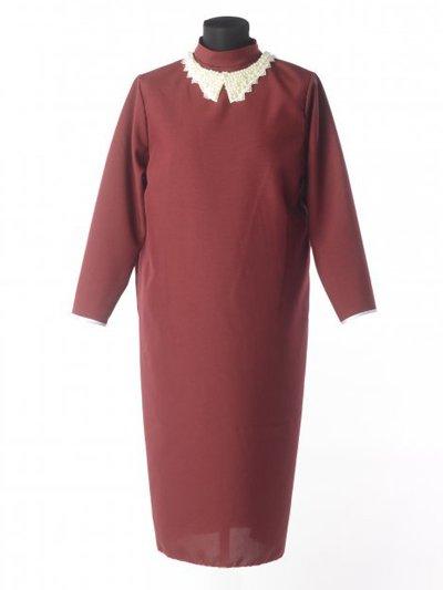Платье для погребения с жемчужным воротником – бордовое - Фото 2 | Компания «Венок»
