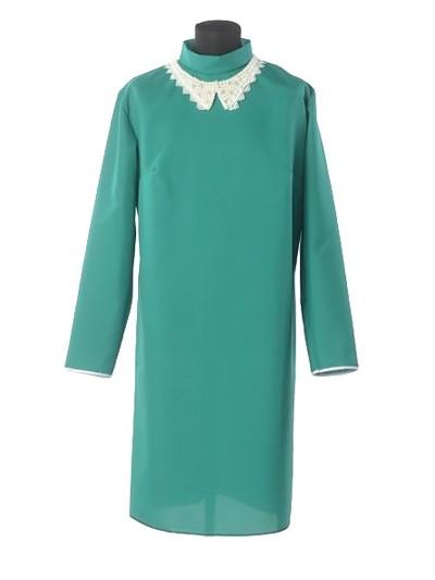 Платье для погребения с жемчужным воротником — зеленое - Фото 1 | Компания «Венок»