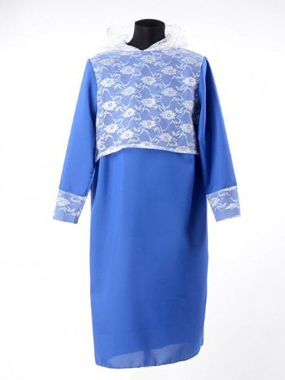 Платье в гроб с гипюровым капором — синее - Фото 1 | Компания «Венок»