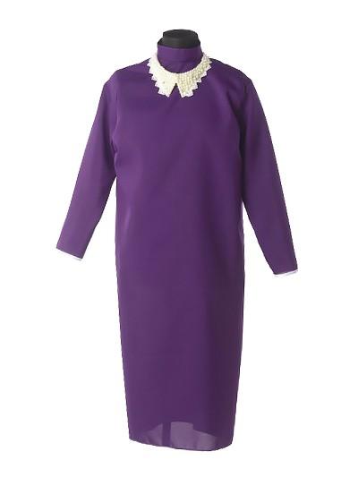 Платье для погребения с жемчужным воротником – черничное - Фото 1 | Компания «Венок»