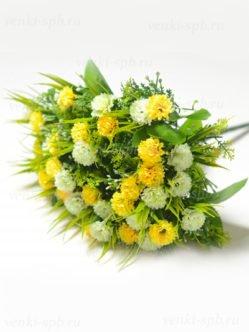 Букет желтой и белой гвоздики на похороны купить в спб