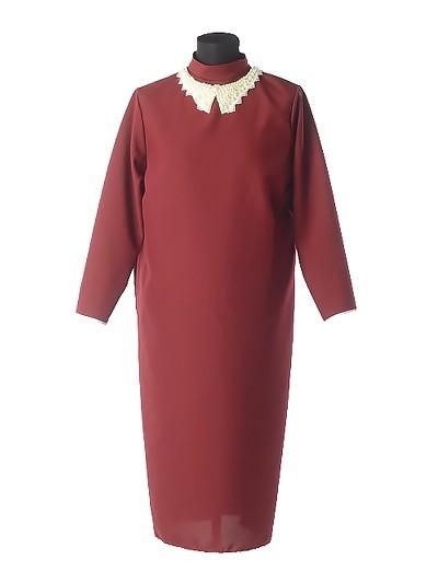 Платье для погребения с жемчужным воротником – бордовое - Фото 1 | Компания «Венок»