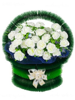 Корзина на кладбище в Санкт-Петербурге Атлантида с белыми розами купить