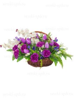 Корзина на похороны из лозы с орхидеей купить в Спб