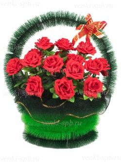 Корзина на похороны в Санкт-Петербурге с красными розами Симфония