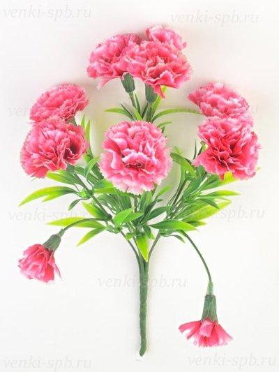 Искусственные цветы Букет гвоздики Барбрук — малиновый - Фото 1 | Компания «Венок»